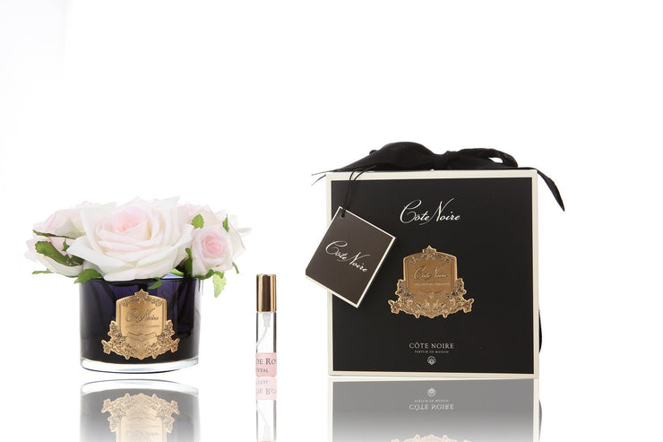 Côte Noire Real Touch Flower Diffuser 5 Rose Pink Blush Dark Glass