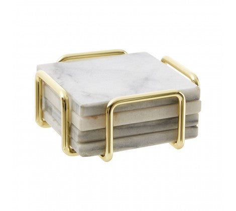Set Of 4 White Marble / Brass Coasters