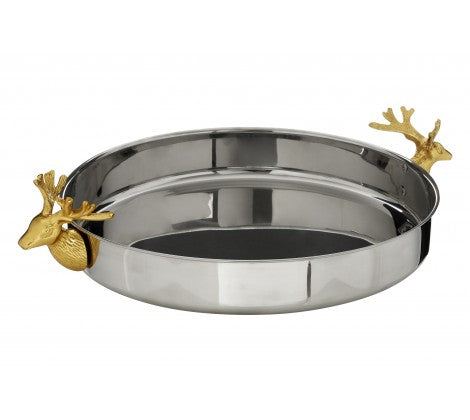 round silver tray with gold stag handles