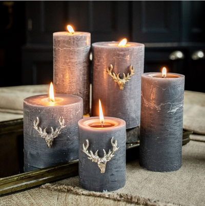 Set of Three Small Stag Antler Candle Pins - Silver Finish