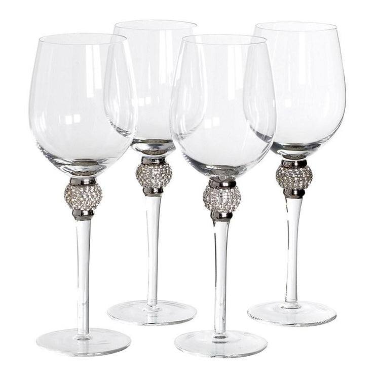 Silver Crystal Wine Glasses