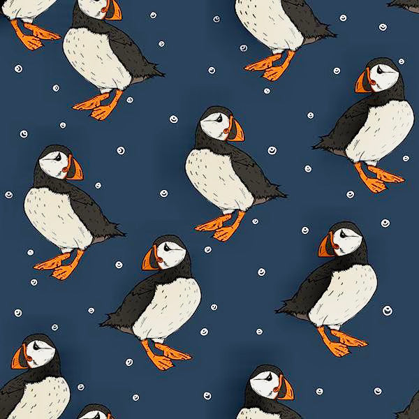Navy Puffins Adult Sweater