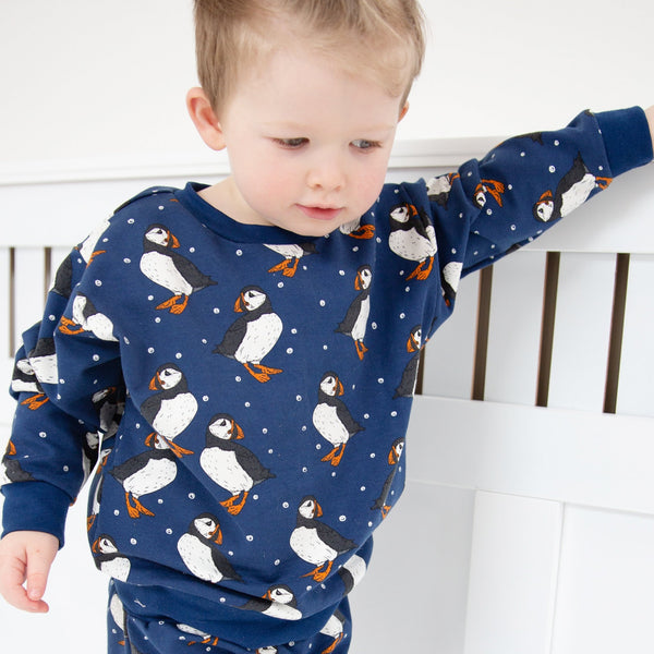 Navy Puffins Baby and Children's Sweater