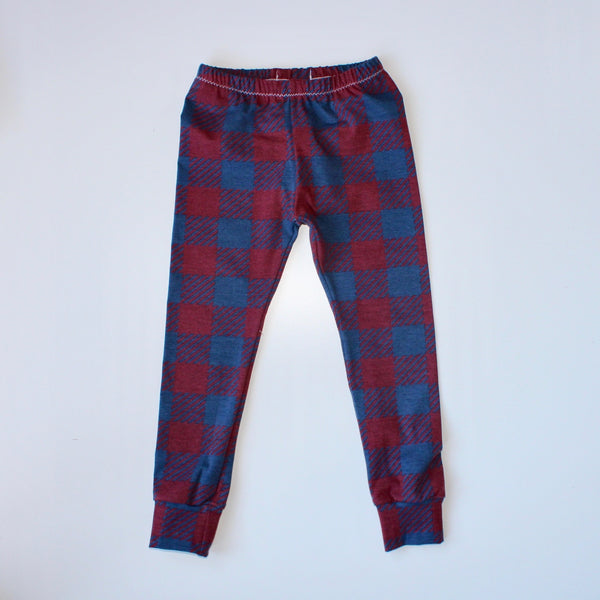 Burgundy Plaid Baby and Children's Leggings (Ready to Ship)