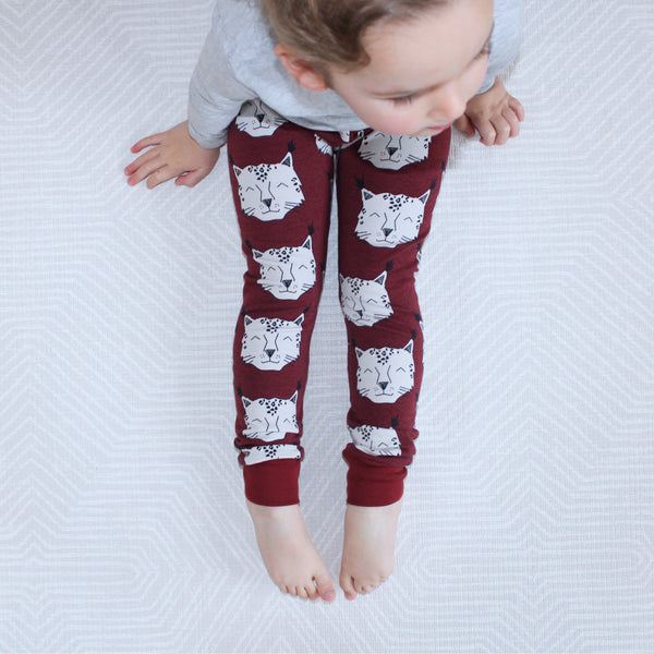 Burgundy Canada Lynx Baby and Children's Leggings (Ready to Ship)