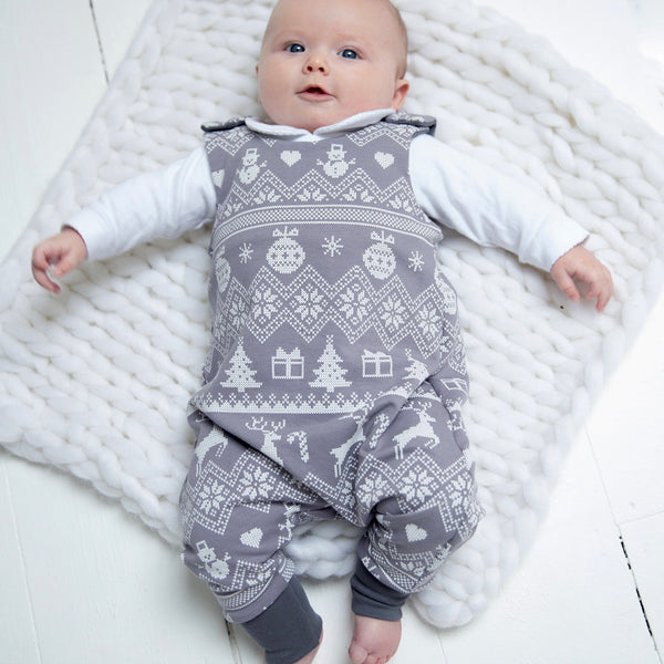 Reindeer Fair Isle Baby and Children's Romper (Ready to Ship)