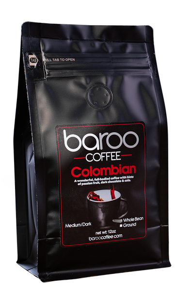 COLOMBIAN COFFEE - Baroo Coffee Fresh Roasted On-Demand Whole Bean or Ground Columbian Coffee Bags Order Bag