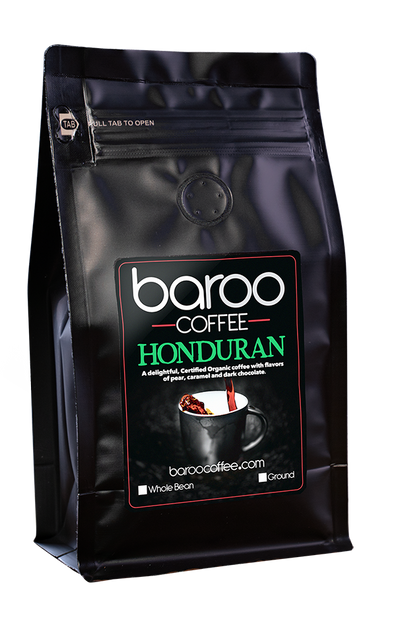 HONDURAN ORGANIC COFFEE - Baroo Coffee Fresh Roasted On-Demand Whole Bean or Ground Columbian Coffee Bags Order Bag