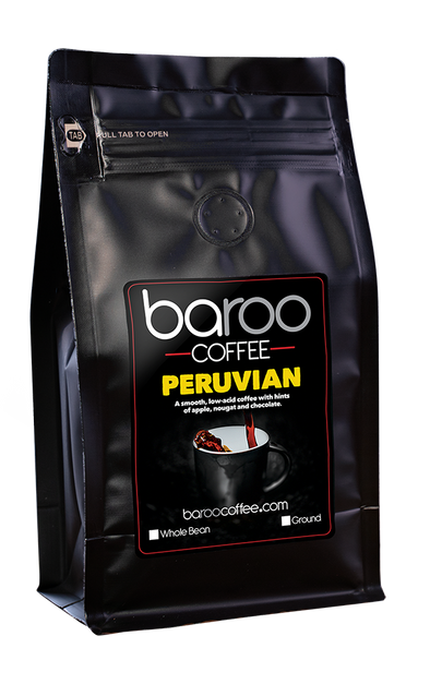 PERUVIAN ORGANIC COFFEE - Baroo Coffee Fresh Roasted On-Demand Whole Bean or Ground Columbian Coffee Bags Order Bag