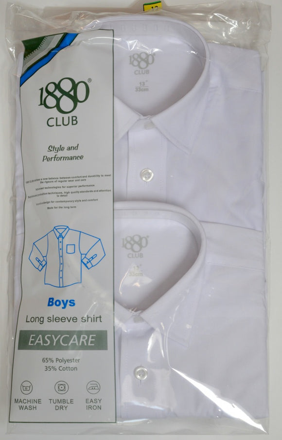 1880 Club  Long Sleeve White Shirt (TWIN PACK)