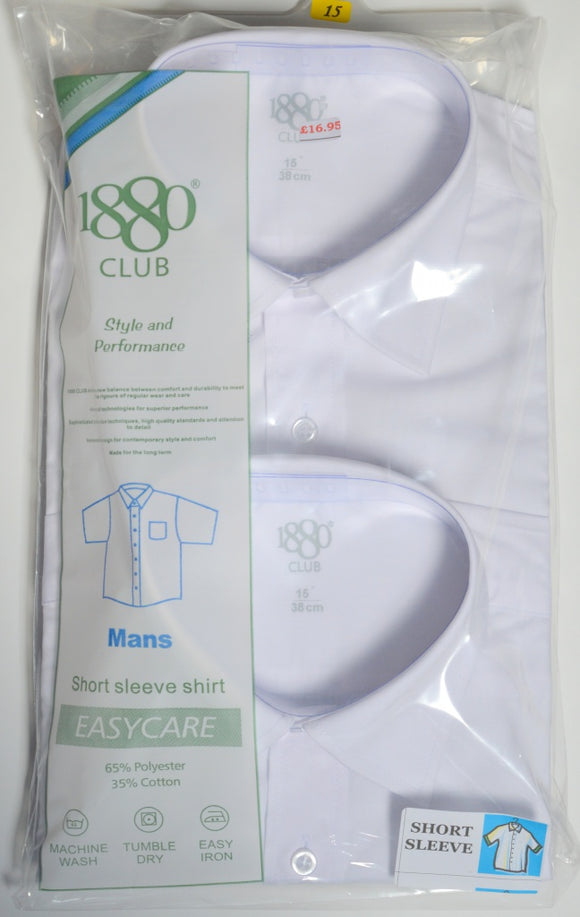 1880 Club White  Short Sleeve Shirt ( TWIN PACK)