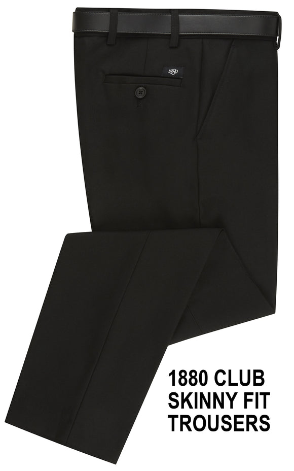 1880 Youths Skinny Fit Black Trousers