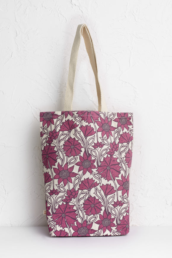 Canvas Shopper Sketched Motifs Wine