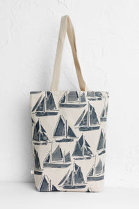 Canvas Shopper Textured Boats Shadow