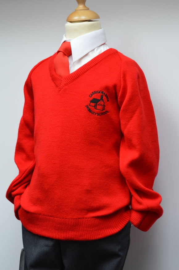 Carrickmannon Red V Neck Jumper