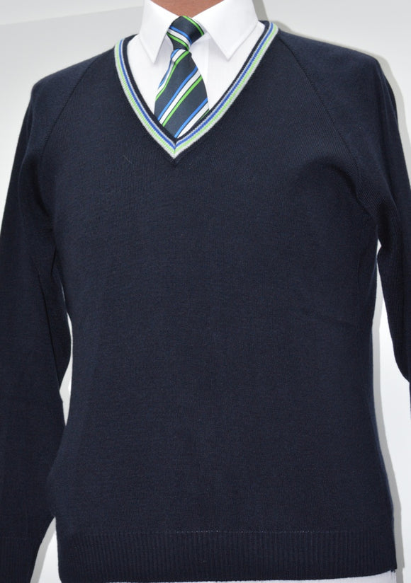 Navy Jumper with Trim