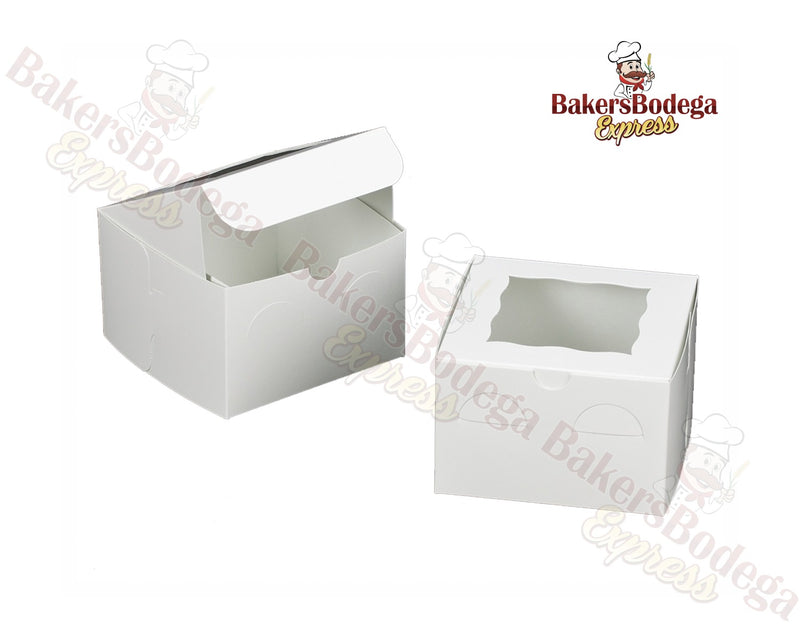 White Treat Box with Window w/Lock & Tab