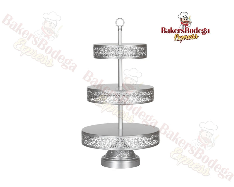 3-Tier Reversible Dessert Stand (Silver)