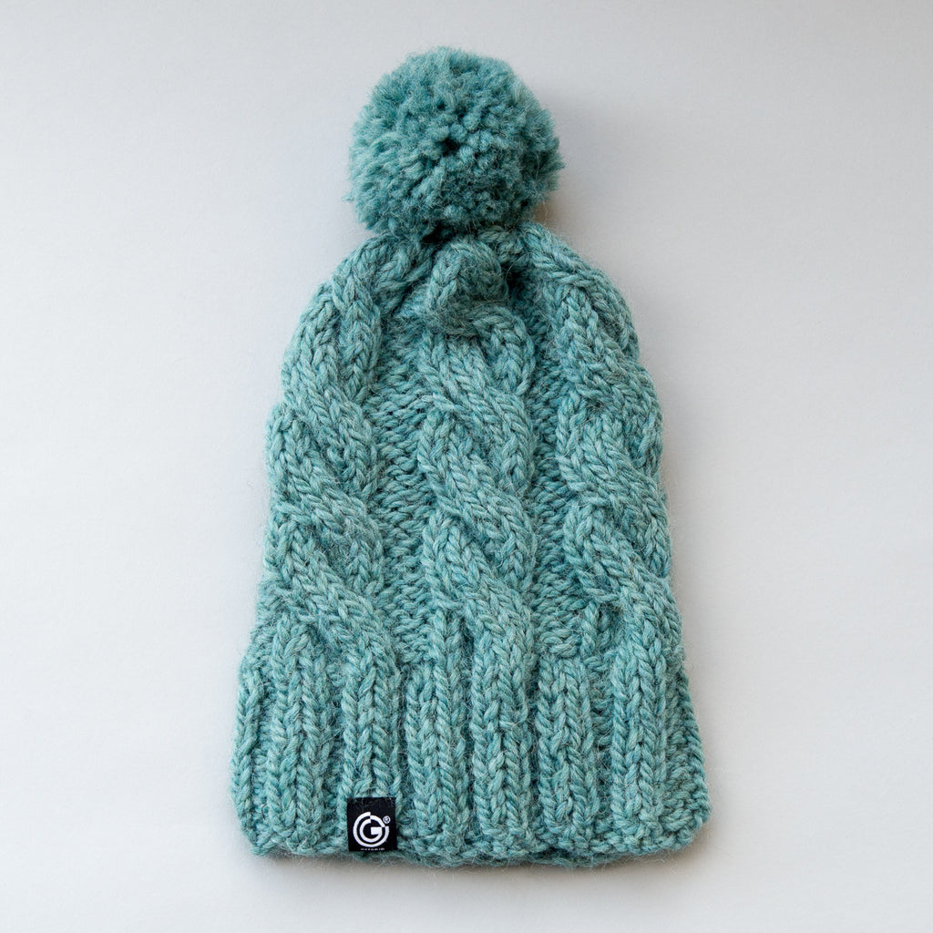 60e2ec3bdb7 Chunky Cable Beanie with bobble - Sea Green – OFFGRID
