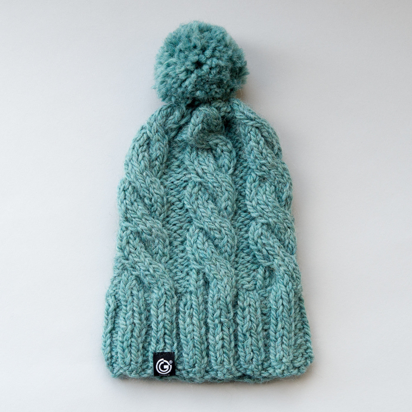 Chunky Cable Beanie with bobble - Sea Green