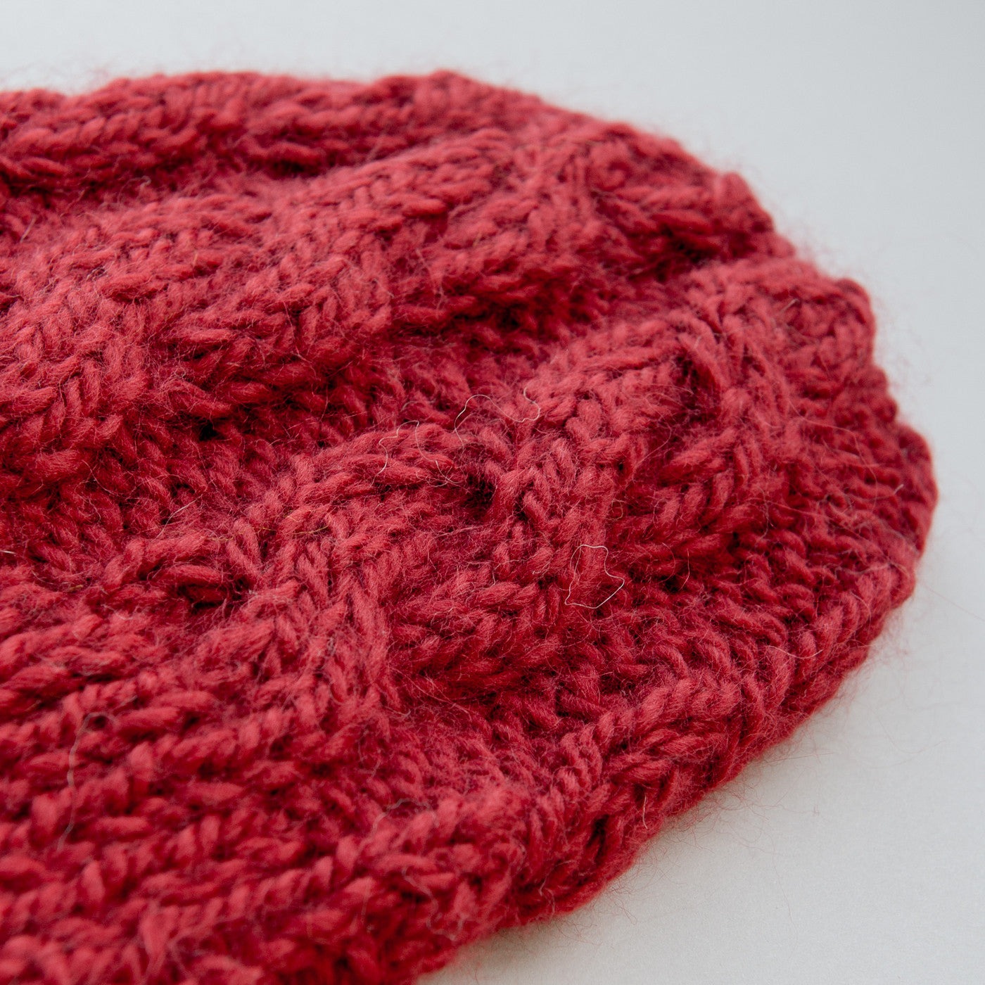 Chunky Cable Beanie - Berry