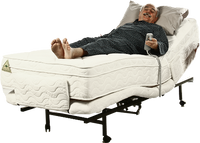 Australian Mobility Aid Equipment For Elderly Man In Cream Electric Bed