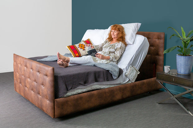 Adjustable Electric Beds Australia Woman reading leather upholstery