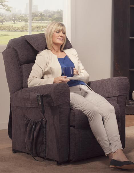 Electric Lift Chair In Normal Position Woman Tea