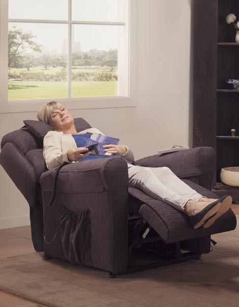 Electric Lift Chair Reclined Woman Reading