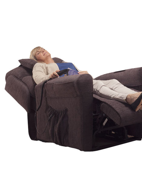 Electric Lift Chair Woman In Full Reclined Position