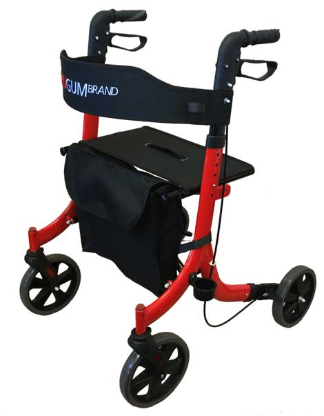 Redgum Compact Side Folding Walker Side View Red