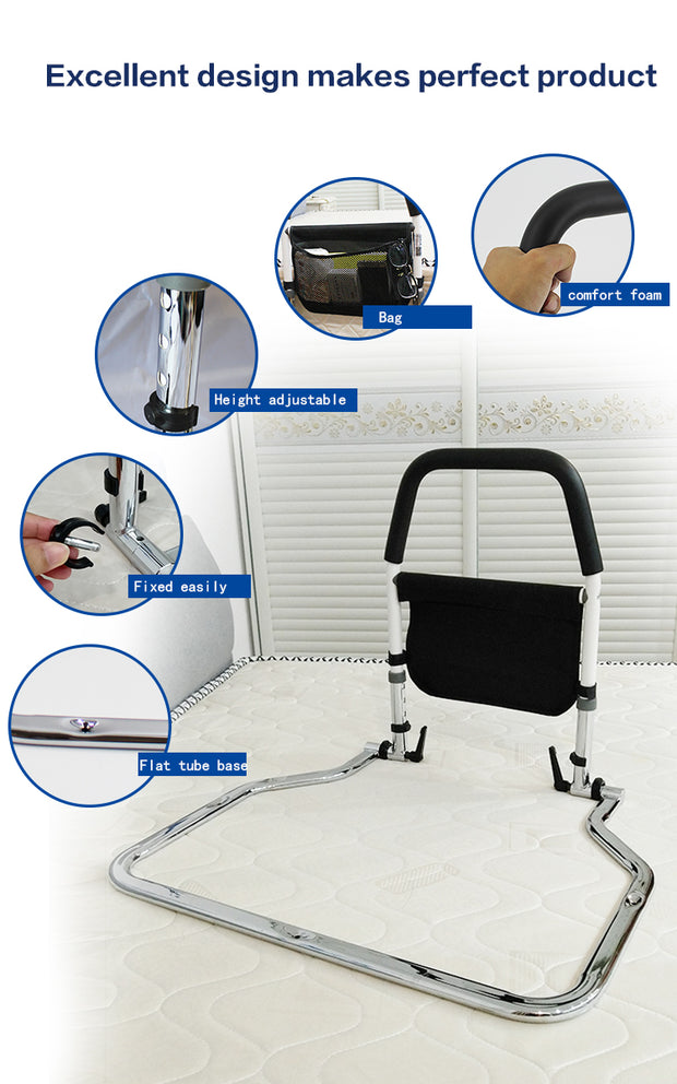 Safety Bed Rail Height Adjustable With Storage Pocket
