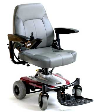 Power Wheelchairs Front View Light Grey Red Chair