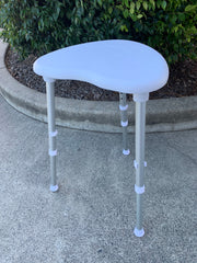 Toilet Aids Corner Round Shower Stool White Silver Legs