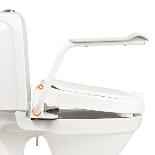 Etac Hi-Loo Toilet Seat Raiser Fixed With Angled Arm Supports