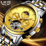 New LIGE Mens Watches Top Luxury Brands Gold Mechanical Watch Mens Sports Waterproof Full Steel Business Watch Relogio Masculino