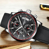 NIBOSI Men's Watches Top Brand Luxury Male Meta&Leather Band Waterproof Sport Quartz Chronograph Military Wrist Watch Men Clock