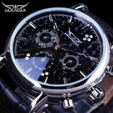 Jaragar Blue Sky Series Elegant Design Genuine Leather Strap Male Wrist Watch Mens Watches Top Brand Luxury Clock Men Automatic