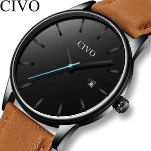 CIVO Casual Mens Watches Top Brand Luxury Waterproof Date Sport Quartz Watches Brown Leather Strap Male Clock Relogio Masculino