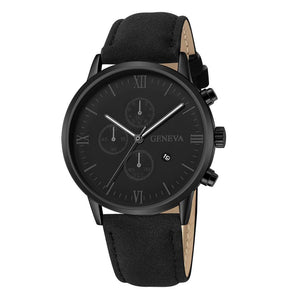 Fashion Geneva Men Date Alloy Case Synthetic Leather Analog Quartz Sport Watch male clock Top Brand Luxury Relogio Masculino
