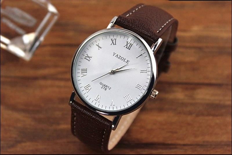 Luxury Fashion Faux Leather Mens Analog Watch Watches Brown Strap New Mens Watches Top Brand Luxury Bayan Kol Saati Watch Men