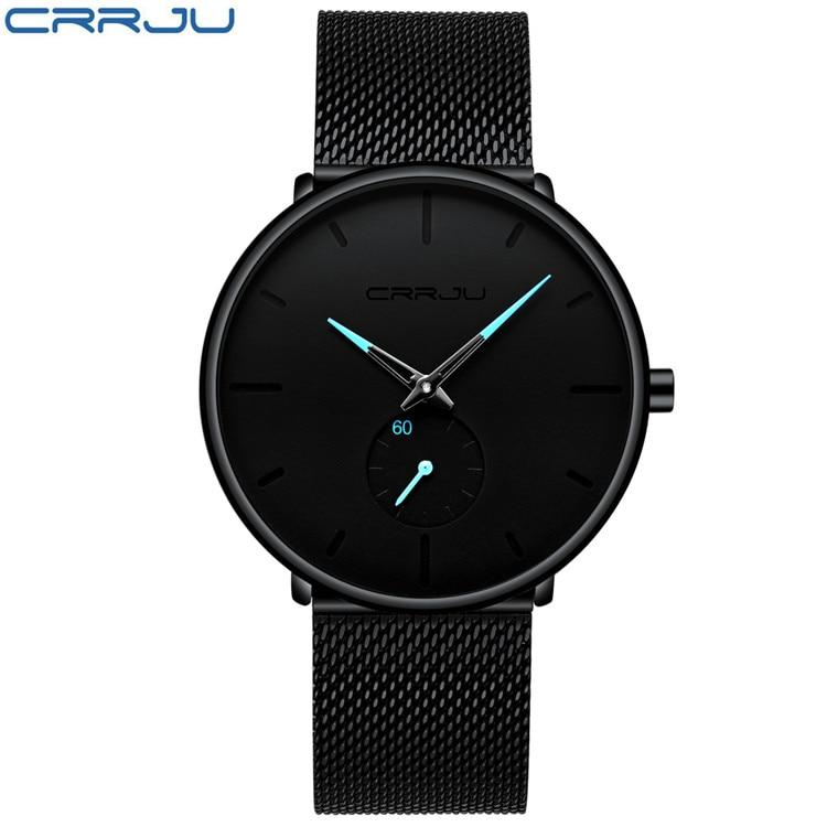 CRRJU Mens Watches Top Brand Luxury Black Quartz Men Watch Drop Shipping Mesh Strap Casual Sport Male Relogio Masculino 2150