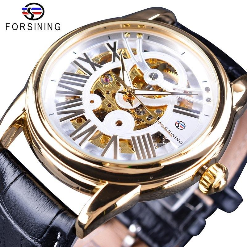 Forsining Official Exclusive Sale Fashion Design Leather Belt Roman Modern Design Mens Automatic Skeleton Watch Top Brand Luxury