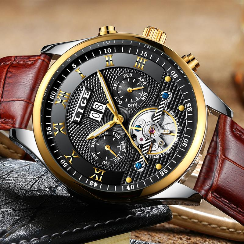 LIGE men watches top luxury brand fashion sports watches automatic mechanical watches business leather clock Relogio Masculino