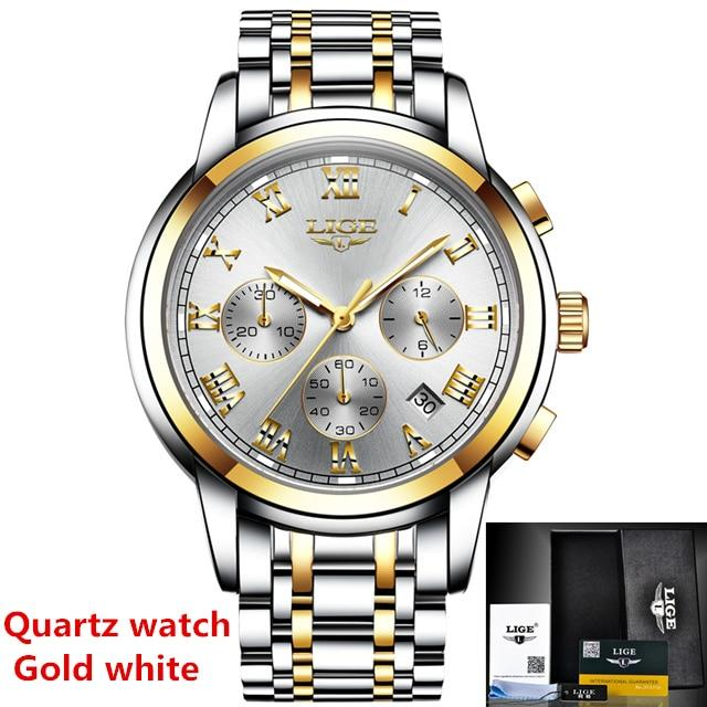 LIGE Mens Watches Top Luxury Brand Automatic Mechanical Watch Men Full Steel Business Waterproof Sport Watches Relogio Masculino