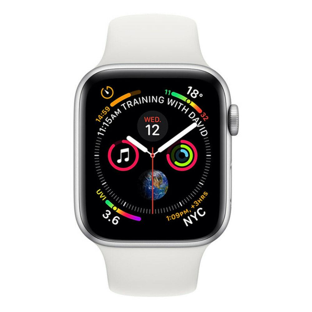 Apple Watch Series 4 44mm Silver Aluminium Case White Sports Band (GPS + Cellula