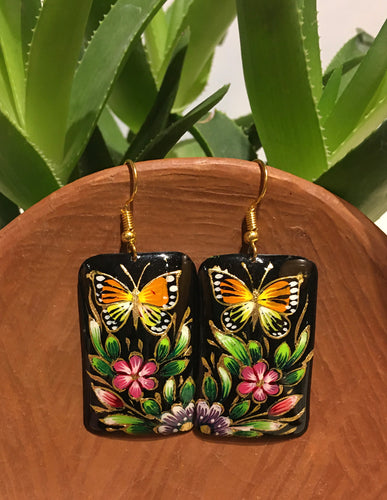 EARRINGS - Hand Painted Copper Monarch Dangles