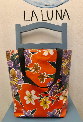 TOTE BAG - Oilcloth Tote Medium - Hibiscus Orange