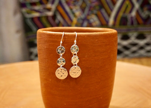 EARRINGS - Three Circles Hammered
