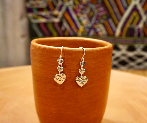 EARRINGS - Three Hearts Hammered